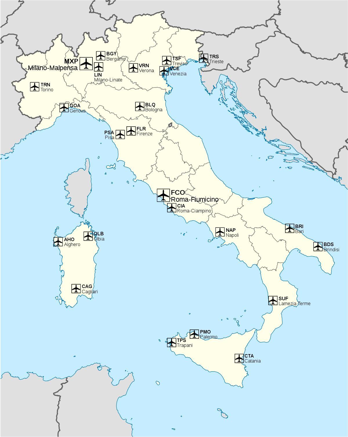 aeroportos de italia mapa Itália mapa do aeroporto Internacional de aeroportos em Itália  aeroportos de italia mapa